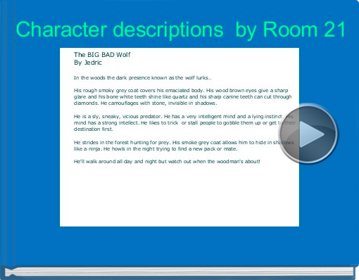 Book titled 'Character descriptions  by Room 21'