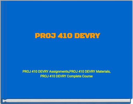 devry proj 410 case study Week 3 case study this week, you will write a paper on nintendo's wii (textbook case 35) in order to assist you in writing your case analysis, there are links to two word documents that should be downloaded.