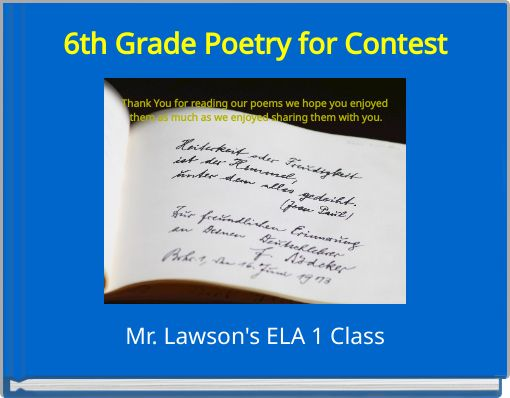 6th Grade Poetry for Contest