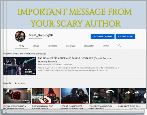 IMPORTANT MESSAGE FROM YOUR SCARY AUTHOR
